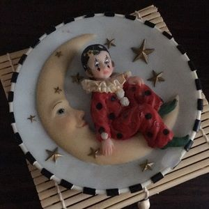 Jester on moon decorative plate can be hung